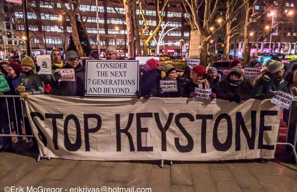 KXL rally NYC outside Koch theatre